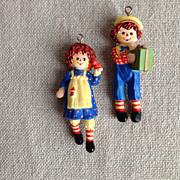 SOLD 1975 Hallmark Raggedy Ann, Raggedy Andy Christmas Ornaments