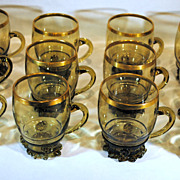 SALE Set of 12 Bohemian Olive Green Art Glass Punch Cups