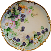 SALE Limoges France Hand Painted 13 inch Charger Decorated with Roses and Blackberries