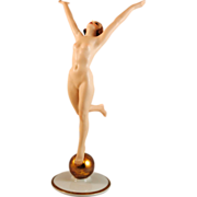 Hutchenreuther Art Deco Sun Child Figurine of a Nude Woman on a Gold Ball