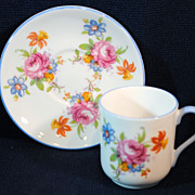 Shelley Rose & Flowers #13865 Miniature Cup & Saucer