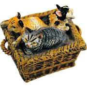 SOLD Bergman Miniature Austrian Cold Painted Vienna Bronze of 3 Kittens or Cats in a Basket