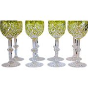 Set of 8 Chartreuse Cut to Clear Wine Glass Stems or Stemware