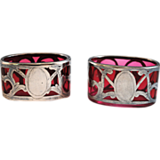 Pair of Sterling Silver Overlay Cranberry Glass Salt Dip Cellars