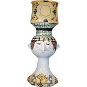 Large Bjorn Wiinblad Danish Studio Art Pottery Head Vase