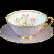 Shelley Light Lavender or Purple Oleander Shape Stocks Cup & Saucer