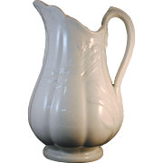 Large White Ironstone Pitcher with Wheat Decoration by J & G Meakin Hanley England