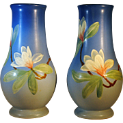 Matched Pair of Weller Hudson Vases with Magnolia Flowers by Hester Pillsbury