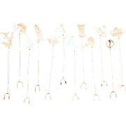 Set of 12 South Western Style Sterling Silver Cocktail Olive or  Hors d'oeuvre Picks