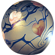 Vandermark Contemporary Art Glass Paperweight with Pink Heart & Blue Vines 1981