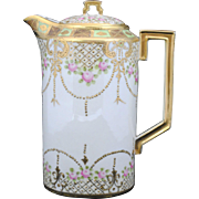 Nippon Coffee or Chocolate Pot with Pink Roses and Raised Gold Decoration