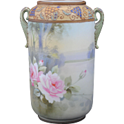 Nippon Hand Painted Scenic Vase with Pink Roses & Jewels