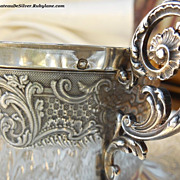 SALE- French Antique Sterling Silver Guilloche Cup and Saucer Set Chocolate Tea Coffee
