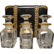 SOLD Antique French Scent Caddy With Three Scent Bottles
