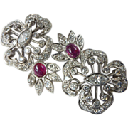 Vintage Art Deco Ruby and Diamond 14kt White Gold Clip Earrings