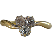 An Antique Old Cut Triple Diamonds in 18kt Gold Engagement Ring - Tristan