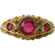 SALE An Antique Victorian Paste Ruby and Diamond Ring in 18kt Yellow Gold - Mercy