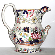 SOLD Large Early 19th Century Underglazed Transfer and Hand-Enameled Two-Handled Jug