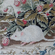 SALE Pair of Victorian Pettipoint Pictures Featuring a Mouse and Birds with Fruit