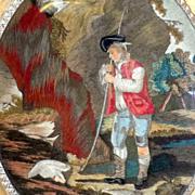 SOLD Georgian Feltwork Picture of a Shepherd Guarding His Favorite Lamb