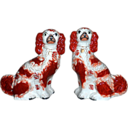 SALE Pair of Early Victorian Staffordshire Comforter Spaniels