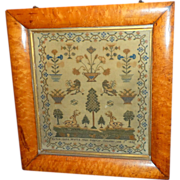 SALE PENDING William IV Motif Sampler with Large Spotted Deer, Trees and Birds