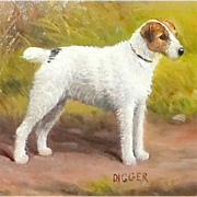 """SALE Portrait of the Wire Fox Terrier Dog, """"Digger,"""" by Henry Crowther"""