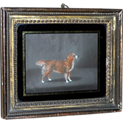 SOLD Early 19th Century Pastel of a Spaniel in Original Frame, by H.B. Chalon