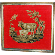 SALE 19th Century Woolwork of Cow and Calf in a Landscape