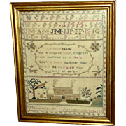 SALE Early 19th Century Georgian Silk Embroidered Sampler