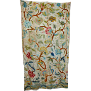 SALE 19th Century Victorian Crewelwork Curtain Panel