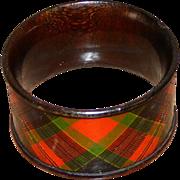 SALE Scottish Mauchlin Tartan Ware Napkin Ring, McPherson Clan