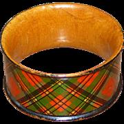 SALE Scottish Mauchlin Tartan Ware Napkin Ring, Prince Charlie Clan