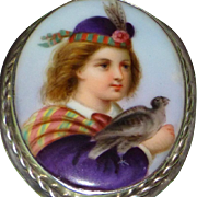 Late 19th Century Victorian Miniature Portrait Brooch of a Scotsman