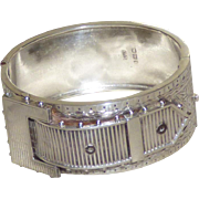 Victorian 19th Century Sterling Silver Buckle Bangle Bracelet