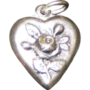 Vintage Sterling Silver Puffy Heart Charm