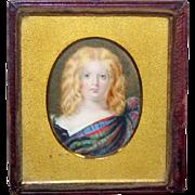 Victorian Mid-19th Century Portrait Miniature of a Scottish Child