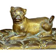 Mid-19th Century Bronze Pug with Gilding on a Marble Base