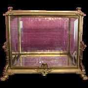 Wonderful and Rare 19th Century Metal, Gilt or bronze metal Vitrine, Table top, Beveled Glass