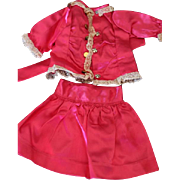 SALE Vintage Pink Satin and antique lace 2 piece doll dress, skirt and top, for ...