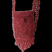 SALE One burgandy hand beaded doll size purse, handbag, for your dolls.