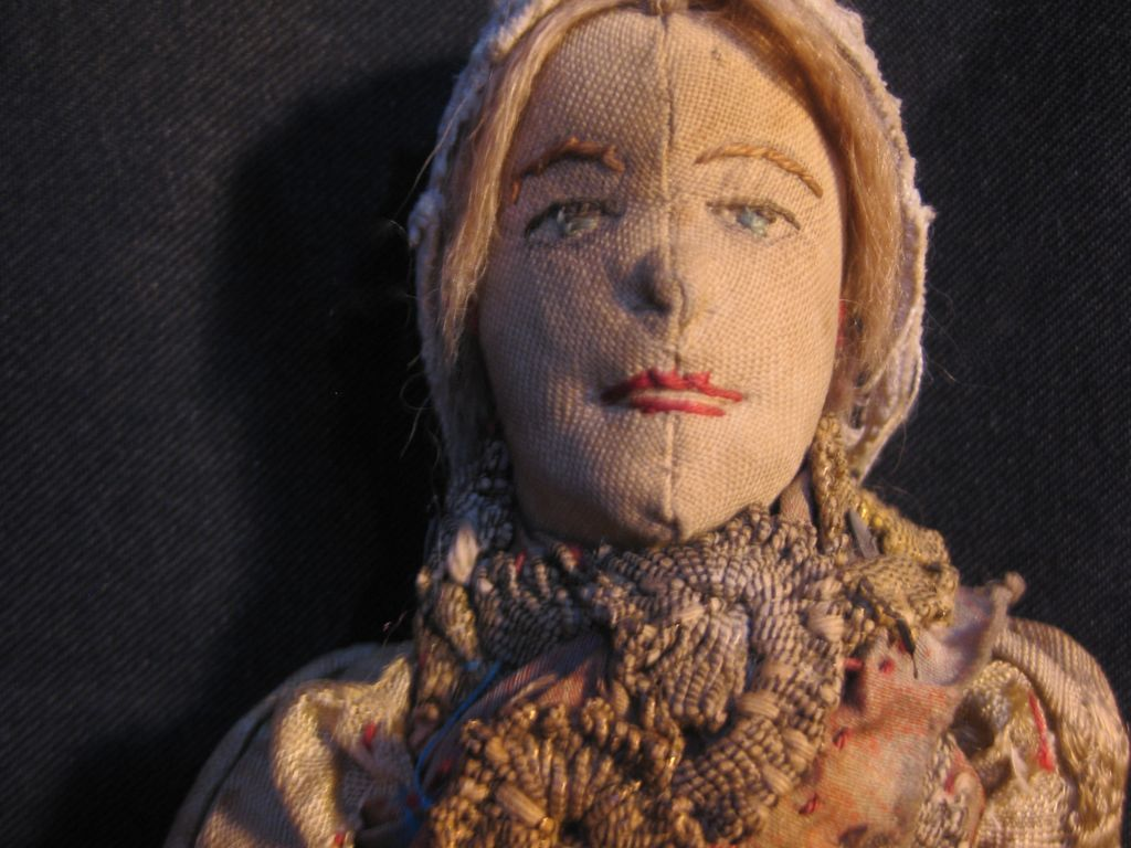 "Outstanding  13"" antique cloth doll"