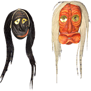 Two Beautiful Iroquois miniature false face masks