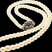 "Very Fine Graduated Cultured Pearl Necklace, 17 1/2"", c. 1945"