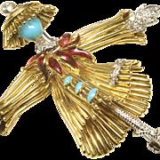 18-Karat Gold Dancing Scarecrow Pin, 1960s