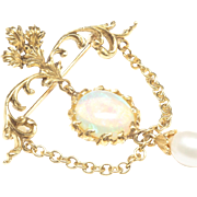 Antique-Style Brooch with Opal and Cultured Pearl, c. 1980s