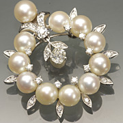 Cultured Pearl and Diamond Brooch & Pendant, c. late '50s