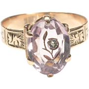 Rose Gold Victorian Ring with Carved Amethyst