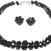 Black Faceted Glass Bead Necklace and Matching Earrings, c. 1960