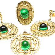 Matching Suite of Ring, Earrings and Pin/Pendant in 14-Karat Gold, Mounted with Green ...